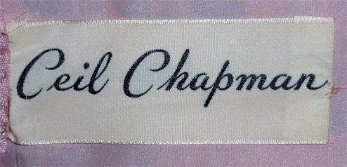 Ceil Chapman Long Pink Silk Floral Print Drape Waist Gown , Circa 1940's 2
