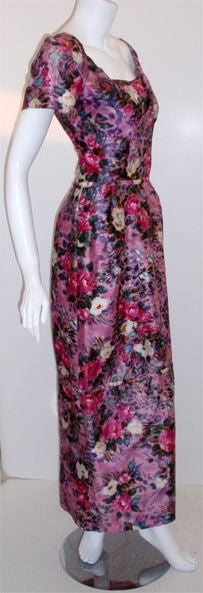 Ceil Chapman Long Pink Silk Floral Print Drape Waist Gown , Circa 1940's 4