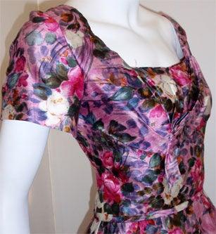 Ceil Chapman Long Pink Silk Floral Print Drape Waist Gown , Circa 1940's 8