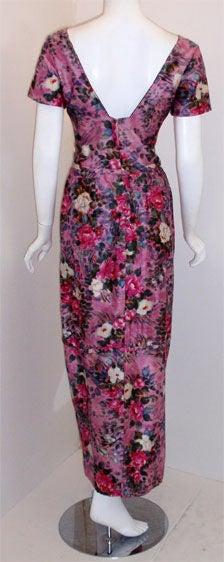 Ceil Chapman Long Pink Silk Floral Print Drape Waist Gown , Circa 1940's 6