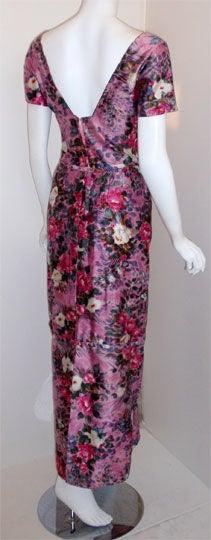 Ceil Chapman Long Pink Silk Floral Print Drape Waist Gown , Circa 1940's 5