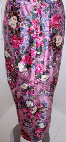 Ceil Chapman Long Pink Silk Floral Print Drape Waist Gown , Circa 1940's 10