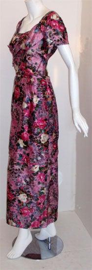 Ceil Chapman Long Pink Silk Floral Print Drape Waist Gown , Circa 1940's 3