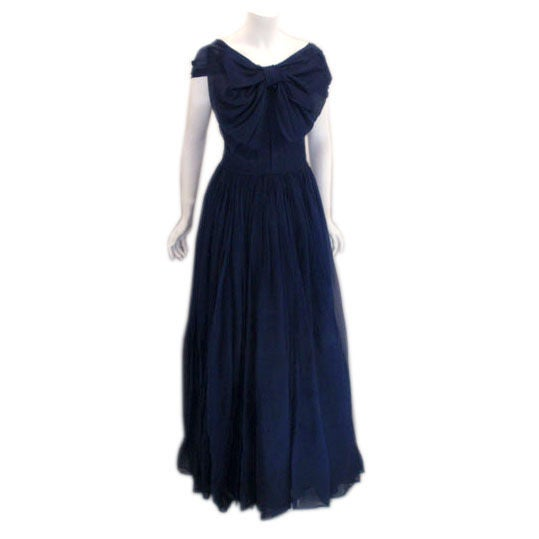 Christian dior haute couture navy blue evening gown circa for Dior couture dress price
