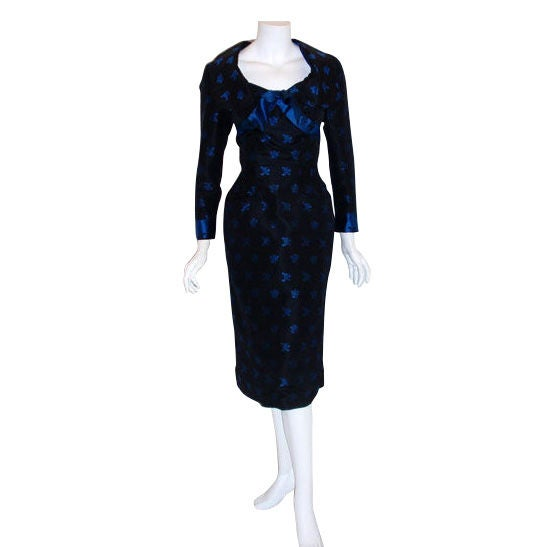 Ceil Chapman Black and Blue Silk Cocktail Dress, Circa 1960