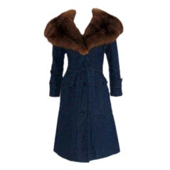 Galanos Blue Denim Trench Coat with a Sable Fur Collar, Circa 1980