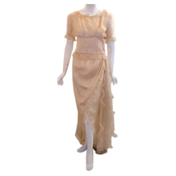 Christian Dior Haute Couture Cream Blouse & Skirt Set,  Betsy Bloomingdale 1988