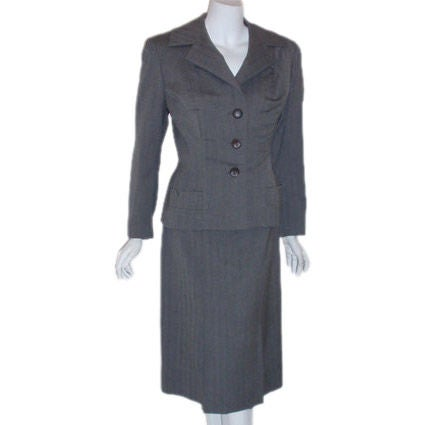 Madame Gres 2pc Gray Herringbone Jacket and Dress, Circa 1950
