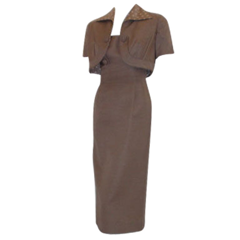 Don Loper Taupe Silk Wiggle Dress with Polka Dot Lined Jacket, Circa 1950 For Sale