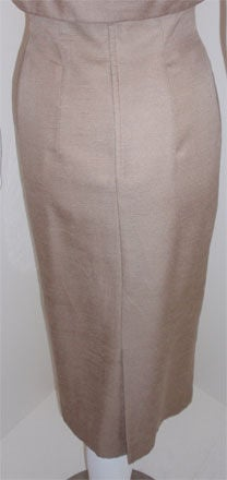 Don Loper Taupe Silk Wiggle Dress with Polka Dot Lined Jacket, Circa 1950 For Sale 5