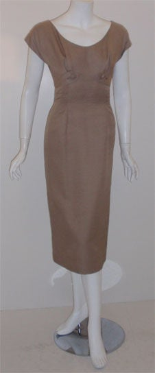 Brown Don Loper Taupe Silk Wiggle Dress with Polka Dot Lined Jacket, Circa 1950 For Sale