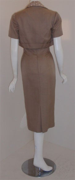 Women's Don Loper Taupe Silk Wiggle Dress with Polka Dot Lined Jacket, Circa 1950 For Sale