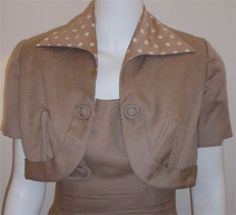 Don Loper Taupe Silk Wiggle Dress with Polka Dot Lined Jacket, Circa 1950 For Sale 1