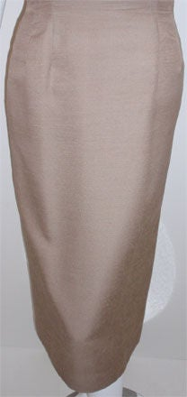 Don Loper Taupe Silk Wiggle Dress with Polka Dot Lined Jacket, Circa 1950 For Sale 2