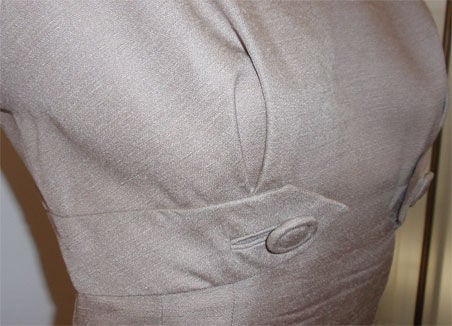 Don Loper Taupe Silk Wiggle Dress with Polka Dot Lined Jacket, Circa 1950 For Sale 3