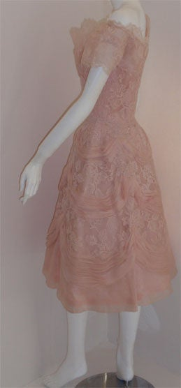 Ceil Chapman Light Pink Lace Cocktail Dress, Circa 1950 4
