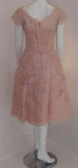 Ceil Chapman Light Pink Lace Cocktail Dress, Circa 1950 5