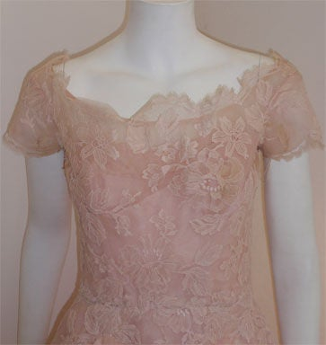 Ceil Chapman Light Pink Lace Cocktail Dress, Circa 1950 6