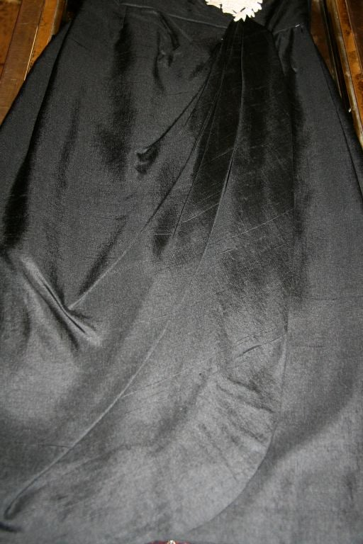 Chapman Black Raw Silk Cocktail Gown Off Whitecotton Lace
