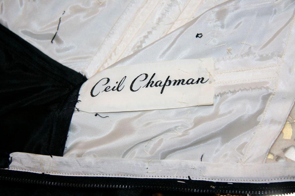 Chapman Black Raw Silk Cocktail Gown Off Whitecotton Lace