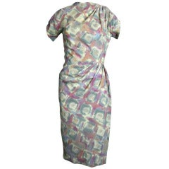 Madame Grès 1940s Pastel Print Wool Challis Dress
