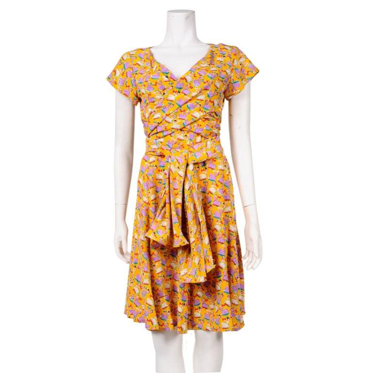 Chloe Silk Sun Dress with Front Scarf Tie 1
