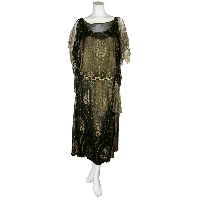 1920s Vintage Dress. Black silk chiffon and gold lame brocade 1
