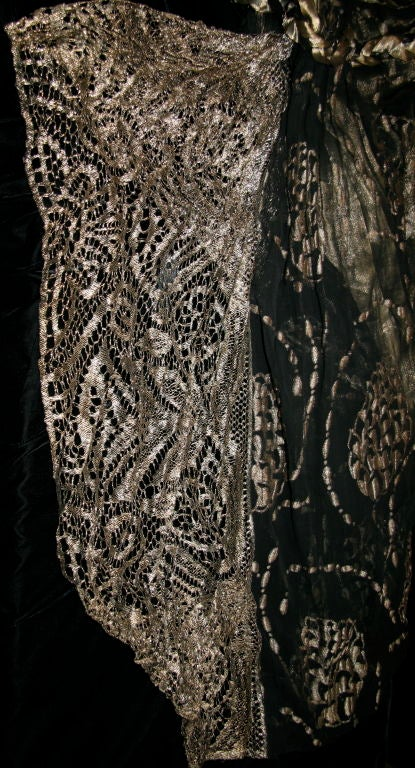1920s Vintage Dress. Black silk chiffon and gold lame brocade 5