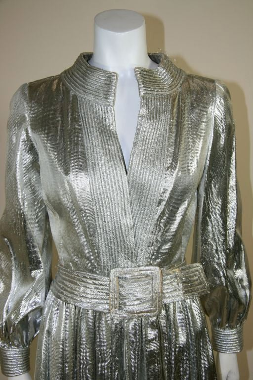 Donald Brooks Silver Lame Jumpsuit At 1stdibs