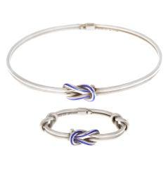 Gucci Sterling and Blue Enamel Knot Necklace & Bracelet