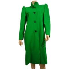 1980s Galanos Green Sculpted Wool Coat