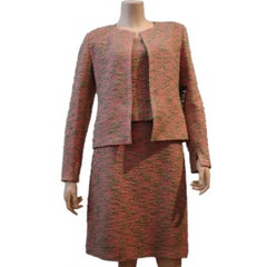 Chanel Melon Tweed 3 Piece Skirt Suit
