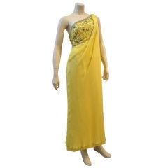 1960s Helena Barbieri Silk Chiffon Grecian Dress