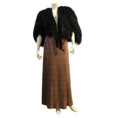 Gucci Mongolian Fur Capelette and Plaid Wool Skirt