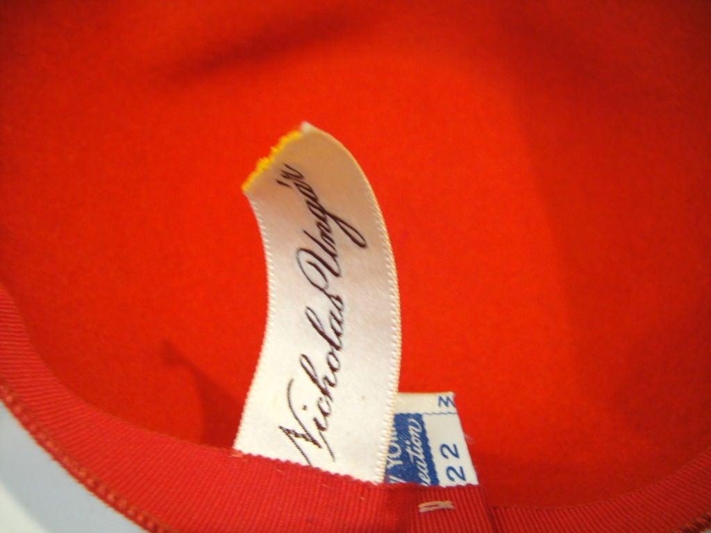 Dramatic 30's Asymetrical Red Felt / Black Velvet Hat 3