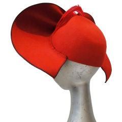 Dramatic 30's Asymetrical Red Felt / Black Velvet Hat
