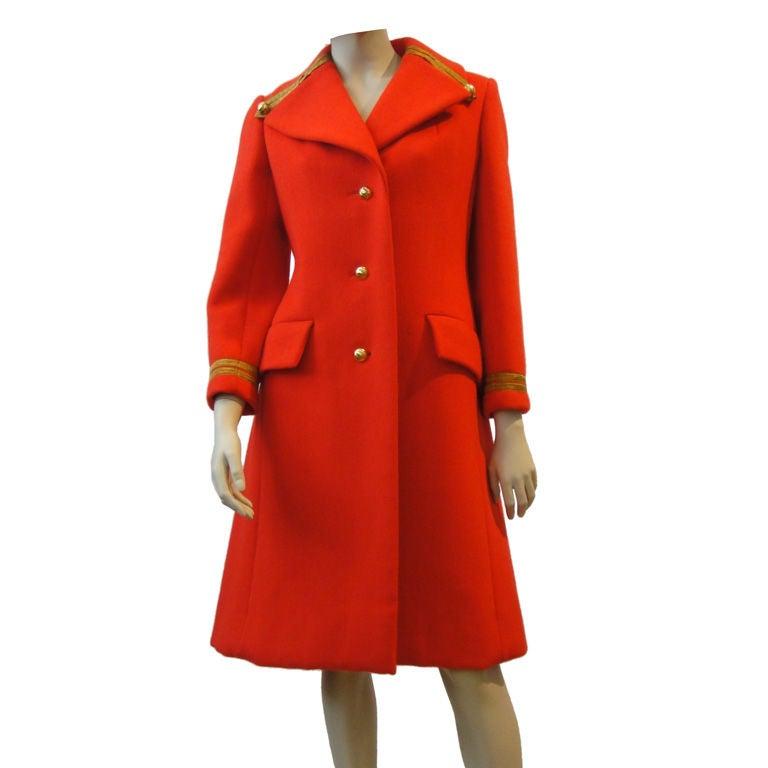 Bill Blass 60's Vermillion Wool Military Coat With