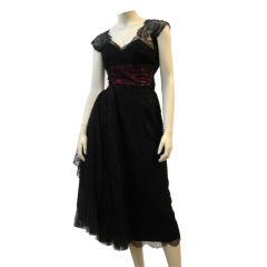 Karen Stark for Harvey Berin 50's  Silk Chantilly Lace Dress