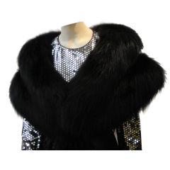 Jet Black Lustrous Fox Fur Stole