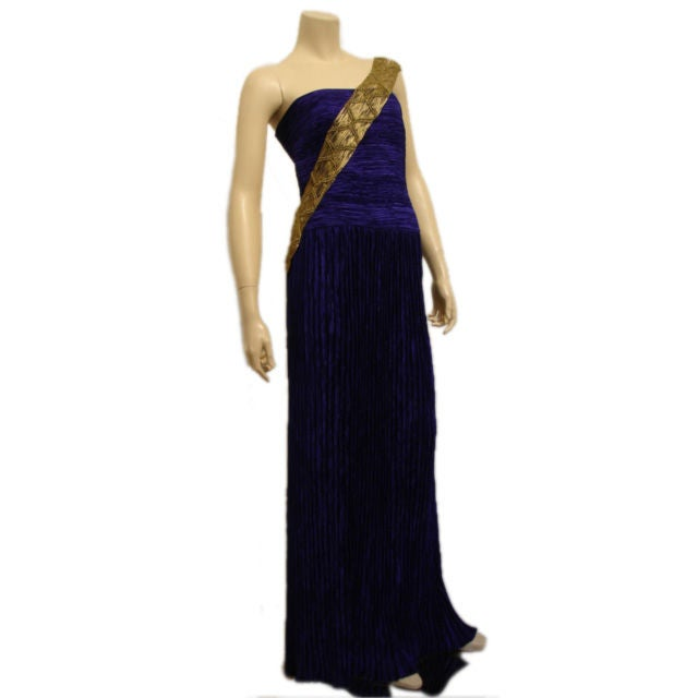 1980s Mary McFadden Purple Silk Pleated Gown