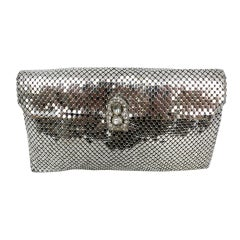 Whiting and Davis Silver metal mesh and Rhinestone Clutch