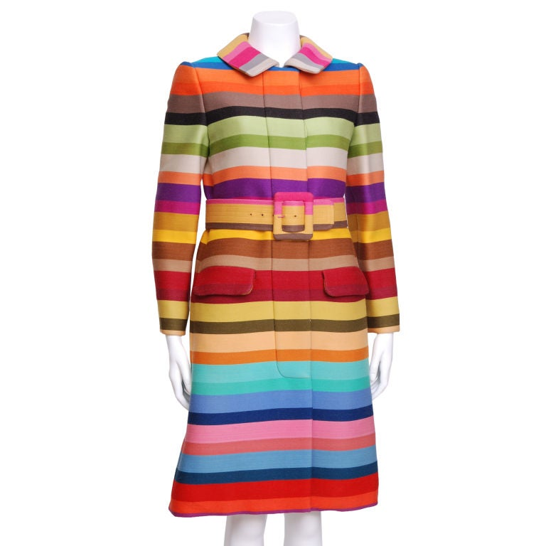 Donald Brooks Multi Color Striped Coat with Matching Belt