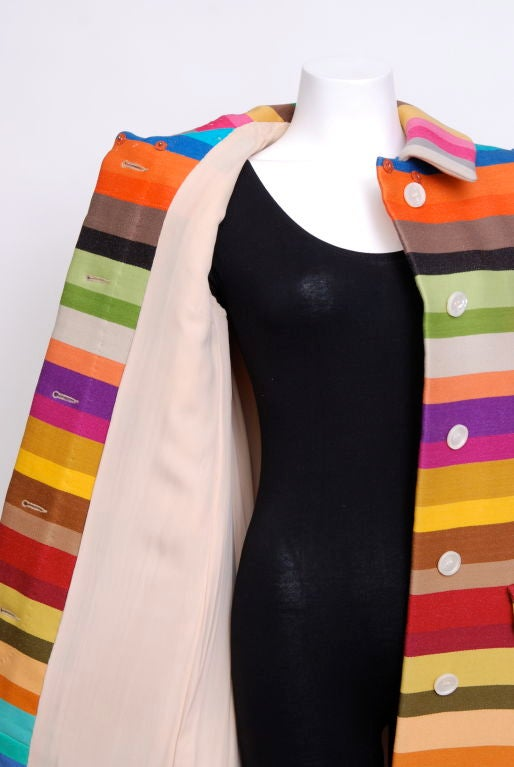 Donald Brooks Multi Color Striped Coat with Matching Belt image 2
