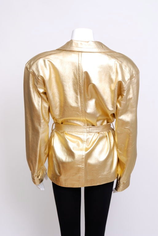 Ysl Metallic Gold Leather Jacket For Sale At 1stdibs