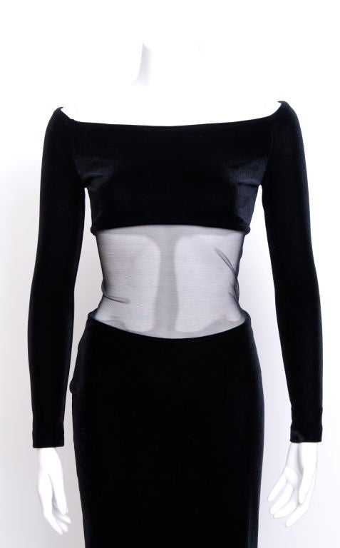 Thierry Mugler Black Velvet Dress with Mesh Cut Out 2