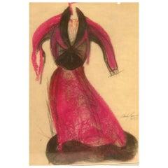 Charles James Original Pastel Fashion Illustration
