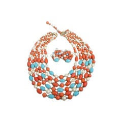 Trifari Vintage 6 Strand Turqoise, Coral and Pearl Necklace Set
