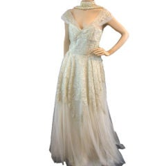 Pierre Balmain Couture 50's Vintage Lace Wedding Gown Sz