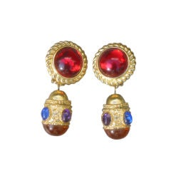 RICHARD SERBIN Fabulous Vintage Glass Cabachon Clip Earrings