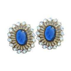 RICHARD SERBIN Fabulous Swarovski Crystal & Glass Clip Earrings